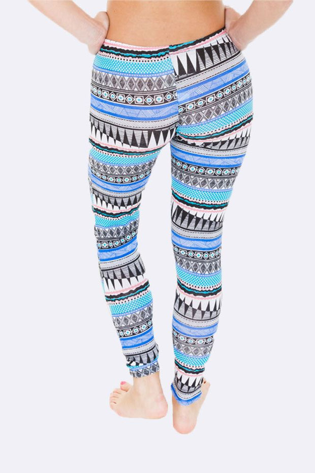 Skyla Full Aztec Print Blue Legging - Love My Fashions - Womens Fashions UK