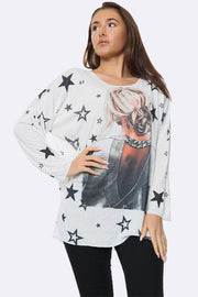 Italian Fashion Star Girl Print Tunic Top
