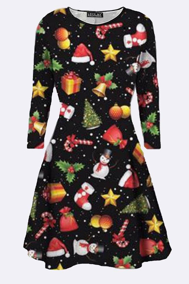 Darcey Girls Gift Stick Santa Hat Print Xmas Dress - Love My Fashions - Womens Fashions UK