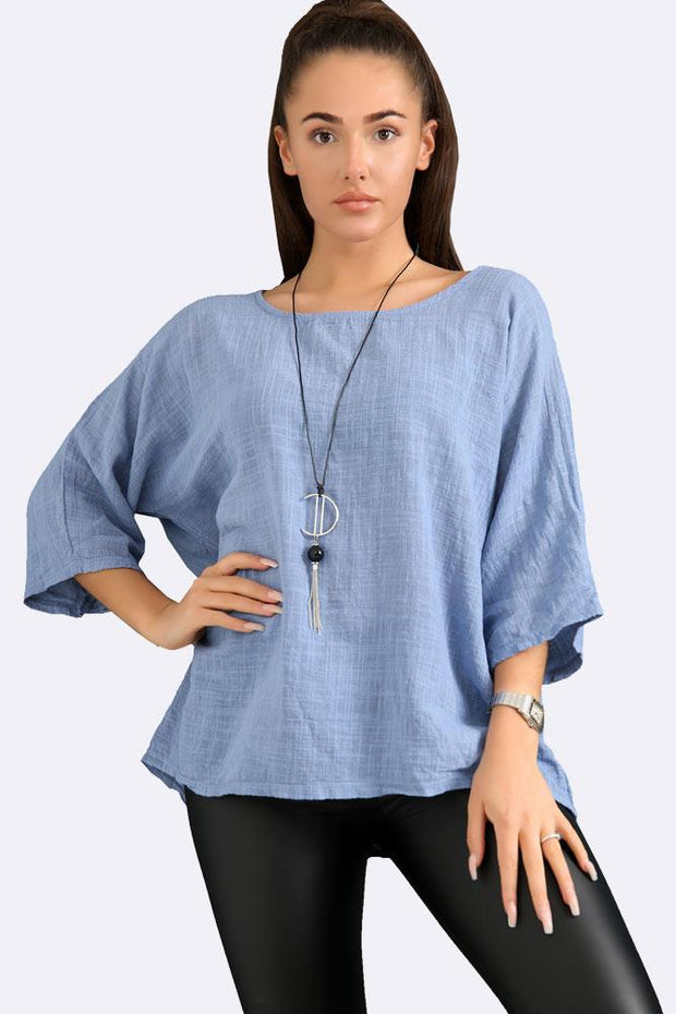 Italian Plain Necklace Tunic Top