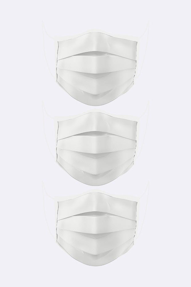 Pleated White Print Cotton Face Mask Cover