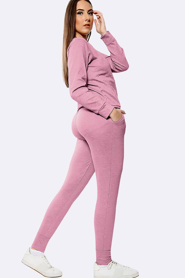 Plain Long Sleeve Top Loungwear Tracksuits
