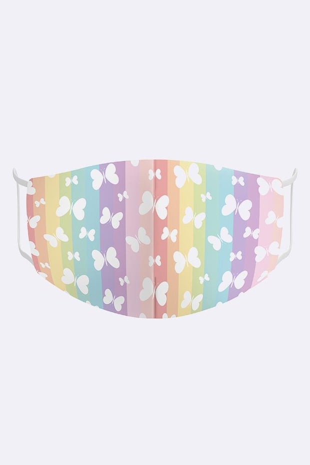 Butterfly & Rainbow Print Kids Mask