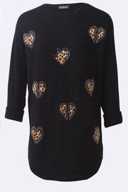 Amina Diamante Leopard Heart Stripes Tunic Jumper - Love My Fashions - Womens Fashions UK