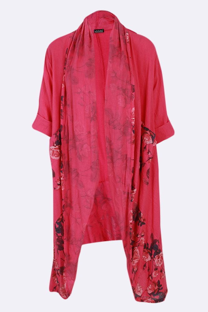 Tracy Rose Flower Print Linen Open Jacket - Love My Fashions - Womens Fashions UK