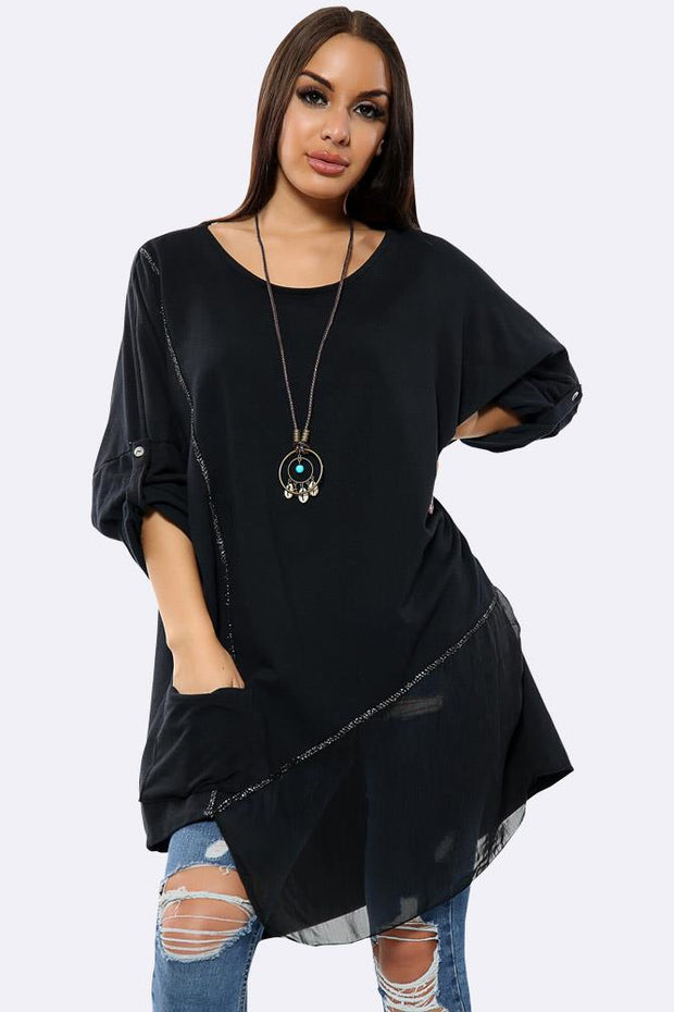 Italian Cotton Plain Button Turn Up Sleeves Necklace Top