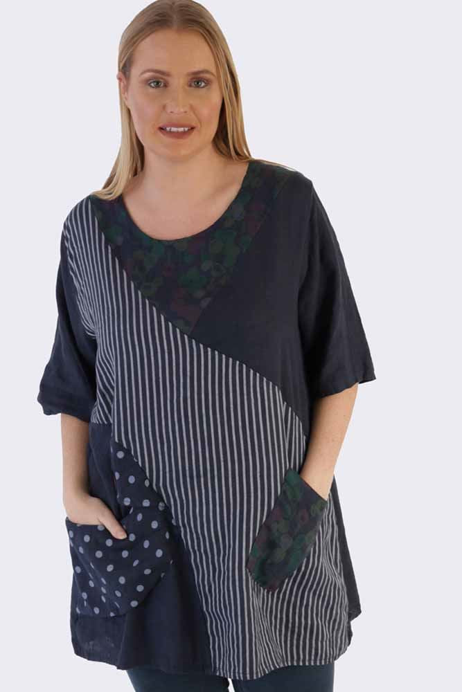 Isobel Linen Mixed Patchwork Top