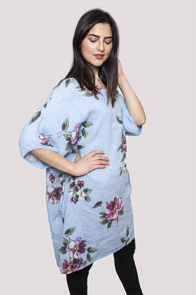 Clare Linen Floral Print Top - Love My Fashions - Womens Fashions UK