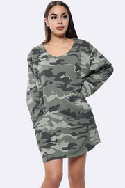 Italian Cotton Camouflage Print Front Pocket Panel Top