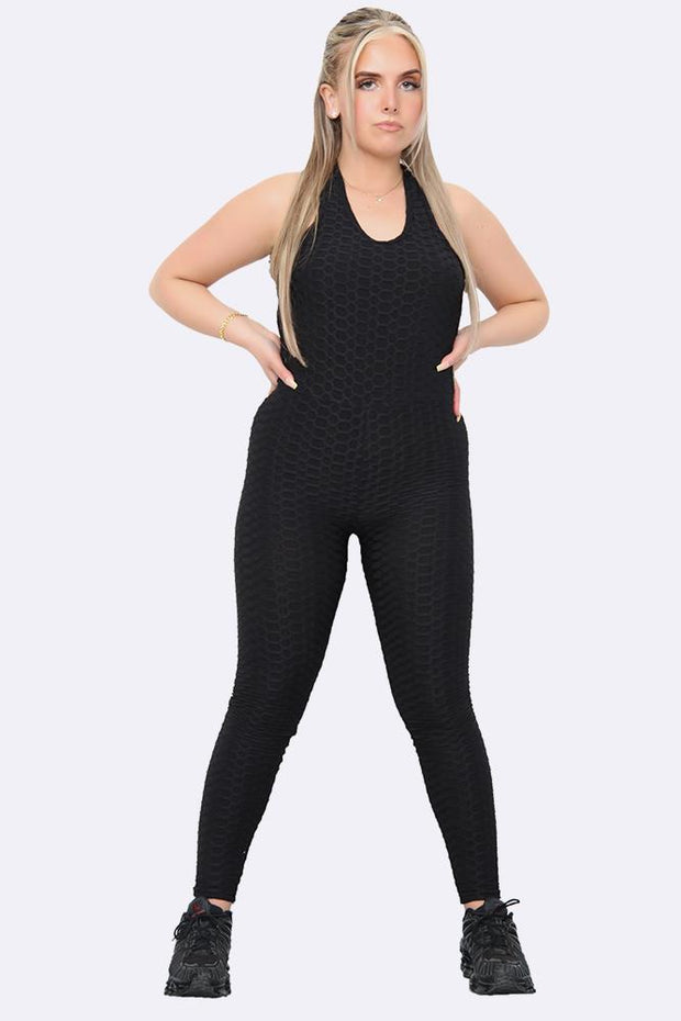Women's One Piece Texture Honeycomb Fitted Jumpsuit_GRWO