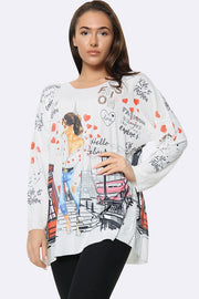 Italian Fashion London Print Tunic Top