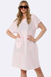 Plain Shortsleeve Lagenlook Dress