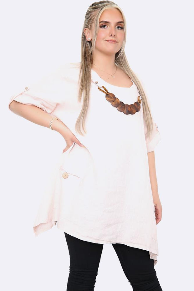 Italian Wooden Necklace Detail Hanky Hem Top