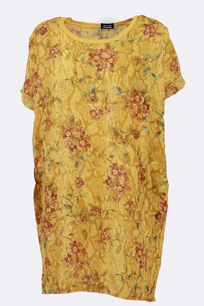 Saira Linen Floral Snake Dip Back Tunic Top - Love My Fashions - Womens Fashions UK