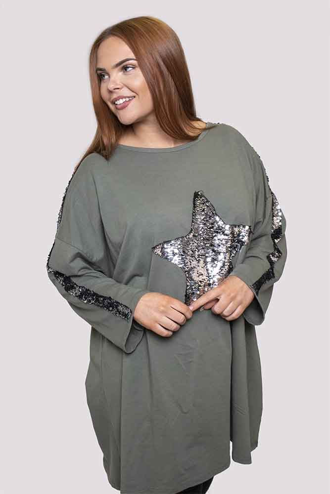 Hannah Cotton Sequin Star Top