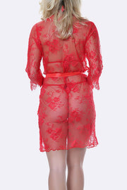 3 Piece Scallop Front Edge Lace Gown Lingerie Set