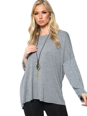 Italian Wool Plain Turn Up Sleeves Necklace Tunic Top