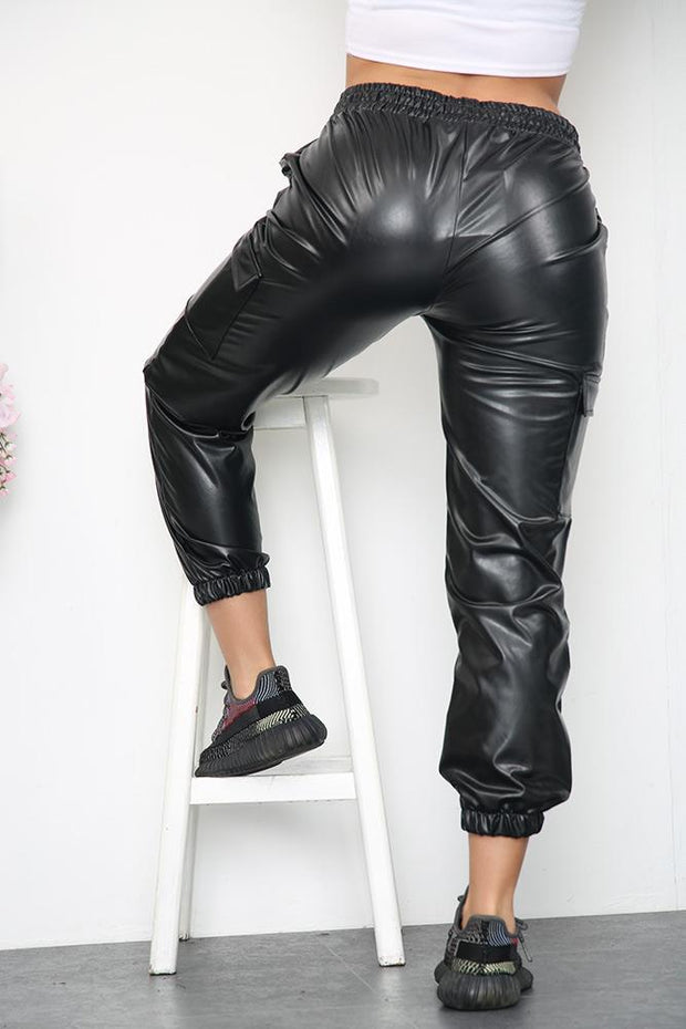 Leather Look Drawstring Waist Cargo Joggers