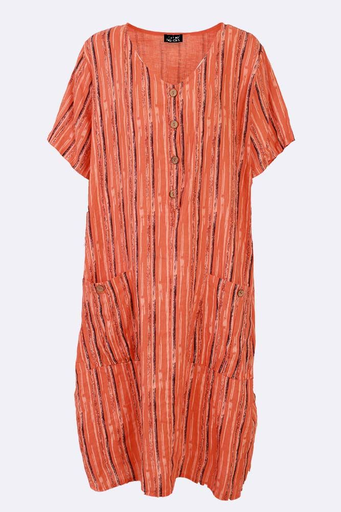 Sidney Linen Abstract Stripe Button Pocket Dress - Love My Fashions - Womens Fashions UK