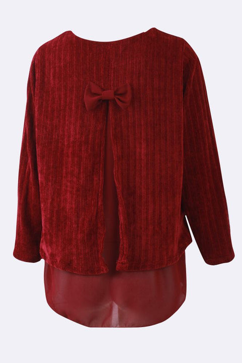 Abby Corduroy Bow Back Stripes Layered Top - Love My Fashions - Womens Fashions UK