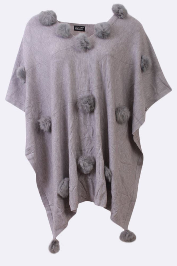 Aimee Plain Big Pom Pom All Over V-neck Poncho - Love My Fashions - Womens Fashions UK