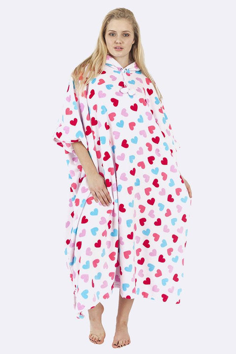 Bryanna Heart Print Hooded Fleece Poncho Blanket - Love My Fashions - Womens Fashions UK