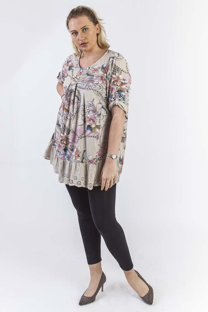Devon Cotton Baroque Floral Embroidered Hem Top - Love My Fashions - Womens Fashions UK