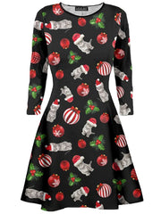 Girls Printed Swing Xmas Dresses