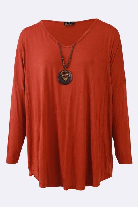Blessing Plain V-neck Necklace Top - Love My Fashions - Womens Fashions UK