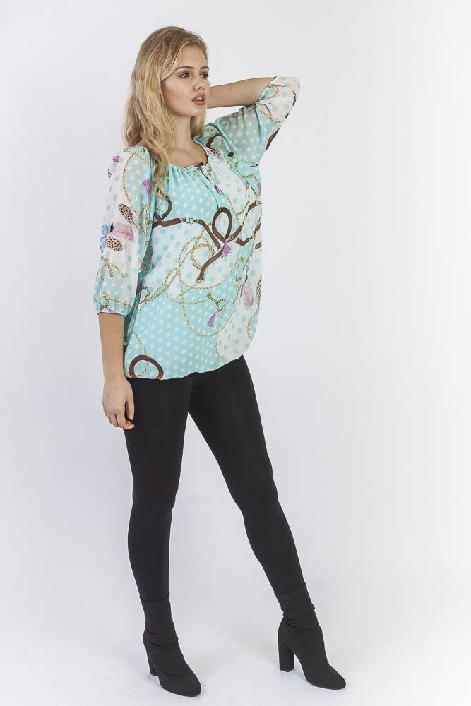 Chelsey Viscose Chiffon Chain Feather Spot Bardot Top - Love My Fashions - Womens Fashions UK