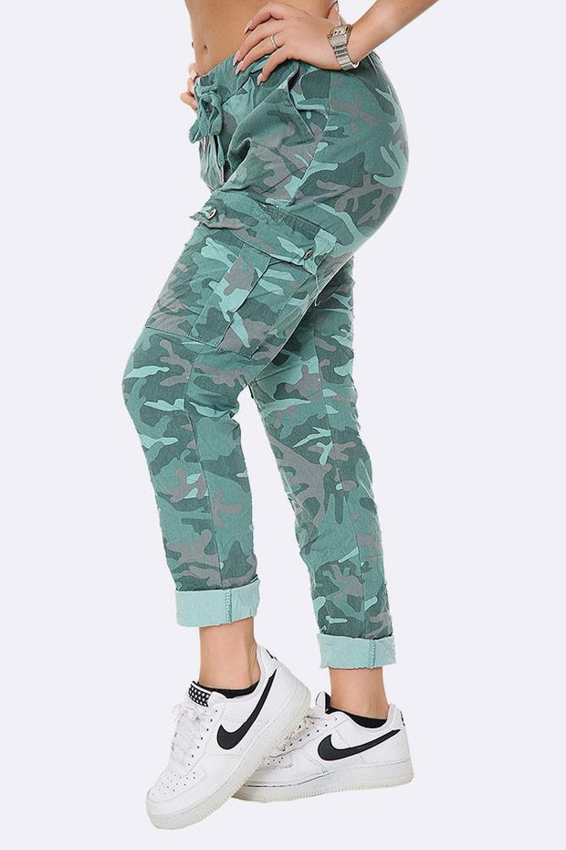 Italian Drawstring Camouflage Cargo Trousers