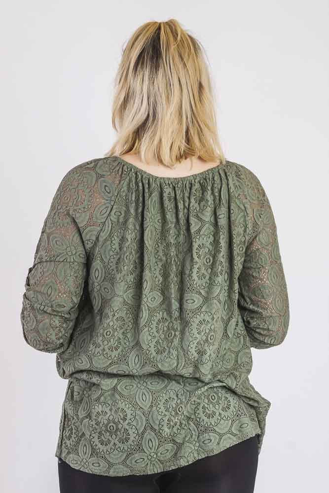 Alanis Cotton Mesh Lace Keyhole Gypsy Top - Love My Fashions - Womens Fashions UK