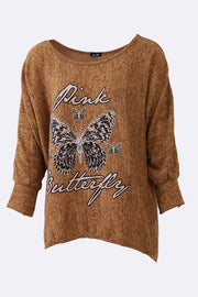 Ines Textured Pink Butterfly Print Top - Love My Fashions - Womens Fashions UK
