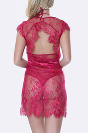 2 Pieces Eyelash Lace Gown Lingerie Set