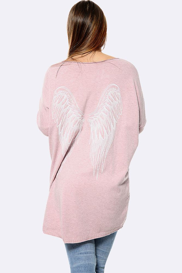 Italian Angel Wings Print Oversized Top