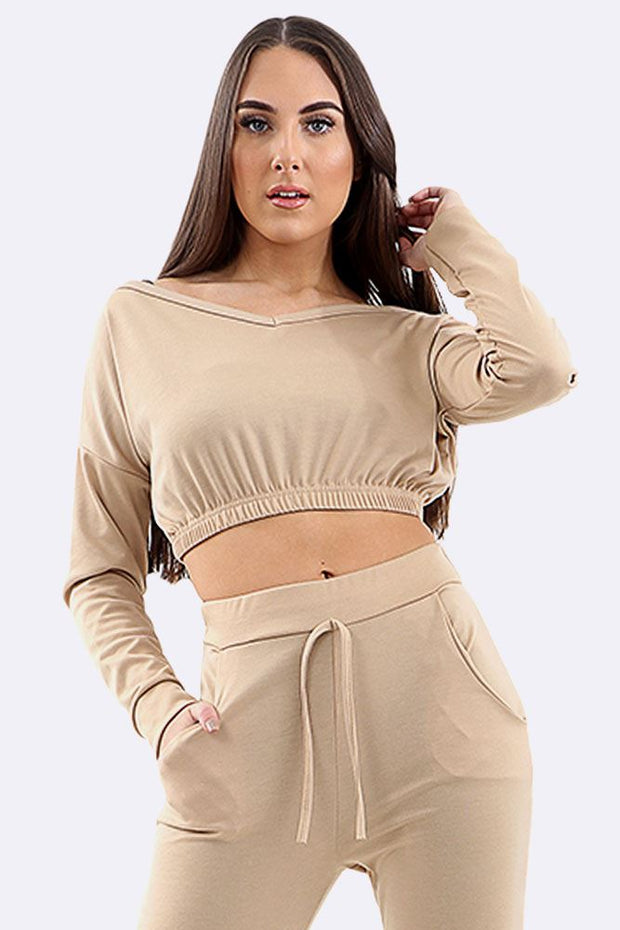 Audrey 2Pcs Crop Top And Drawstring Bottom Tracksuit - Love My Fashions - Womens Fashions UK