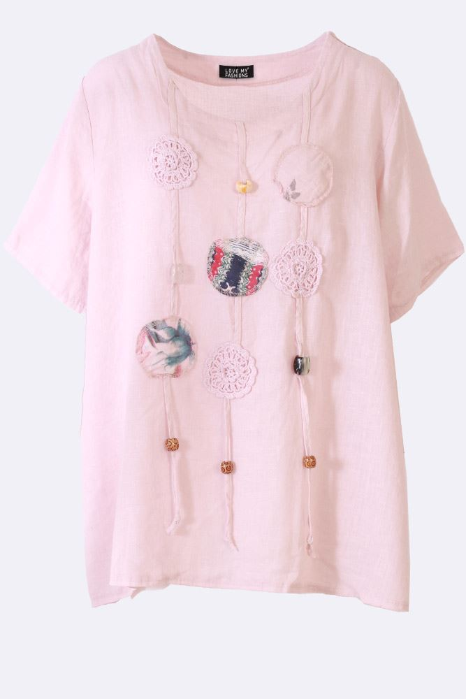 KASSANDRA Linen Applique Bead Top - Love My Fashions - Womens Fashions UK