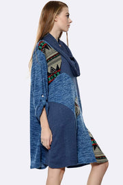 Abstract Print Patchwork Scarf Top