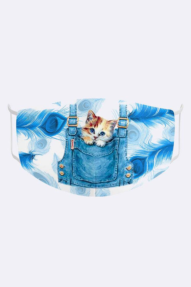 Kids Cute Kitten In Pocket 2 Ply Digital Print Cotton Face Mask Cover