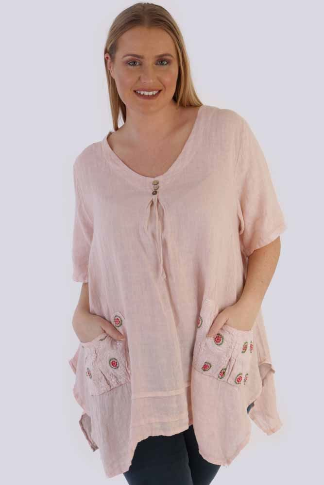 Jaliyah Linen Embroidered Pocket Hanky Top - Love My Fashions - Womens Fashions UK