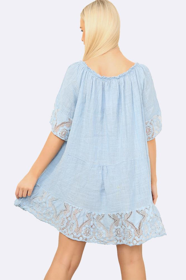 Italian Lace Hem Gypsy  Top