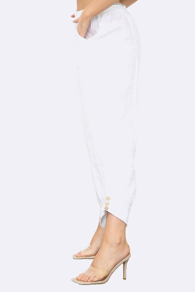 Italian Side Hem Button Linen Trousers