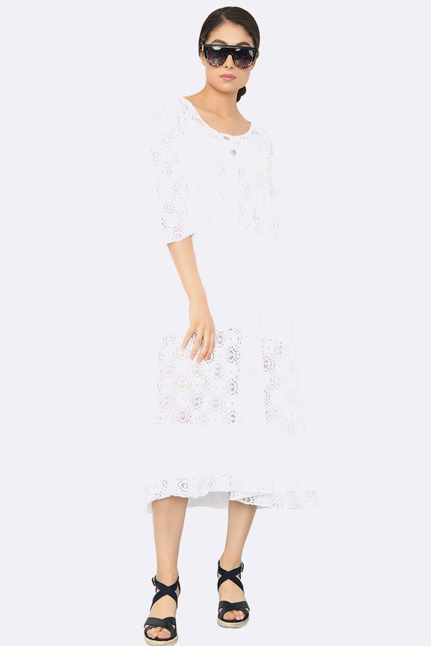 Italian Lace Panelled Button Dress