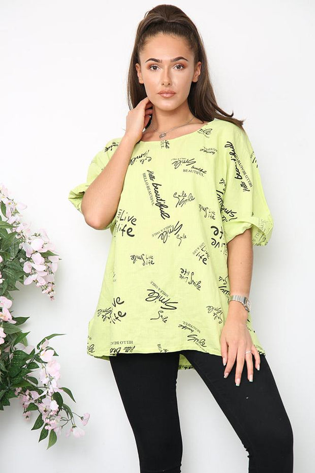 Italian Beautiful Smile Logo Print Top