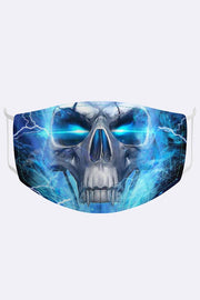 Unisex Lighting Skull Digital Print 2 Ply Cotton Face Mask Cover