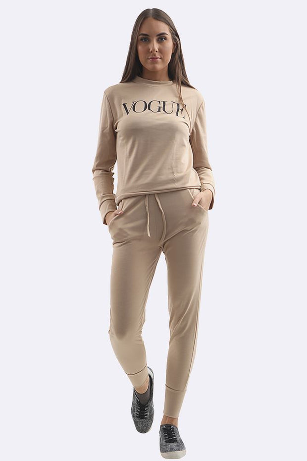 Zoey Plain Vogue Print Tracksuit - Love My Fashions - Womens Fashions UK