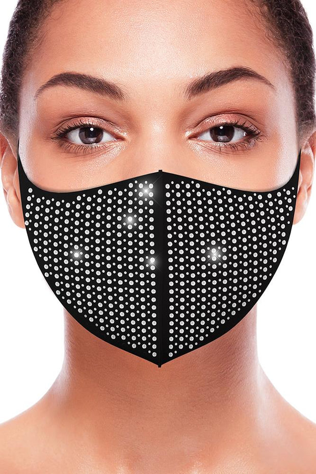 Big and Small Polka Dot Rhinestone Fashion Face Mask