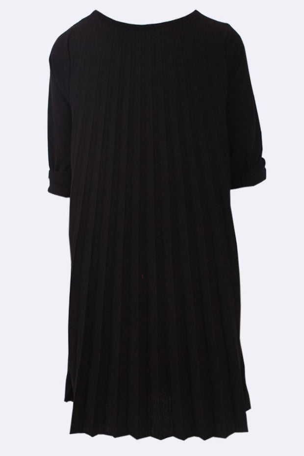 Emily Wool Mix Pleated Necklace Swing Dress