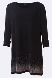 Amelie Plain Diamante Textured Hem Long Jumper