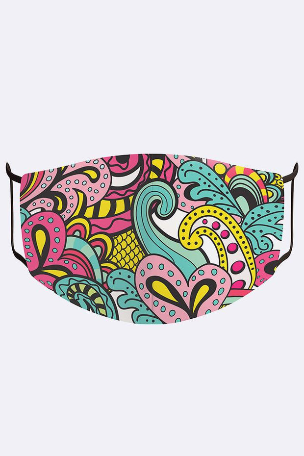 Unisex Colourful Paisley Print Digital 2 Ply Cotton Face Mask Cover